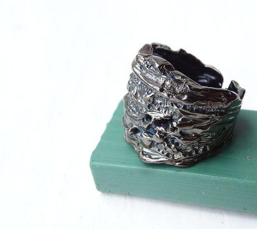 Кольца ручной работы. Ярмарка Мастеров - ручная работа. Купить Фактурное кольцо. Handmade. Черный, ювелир, подарок женщине