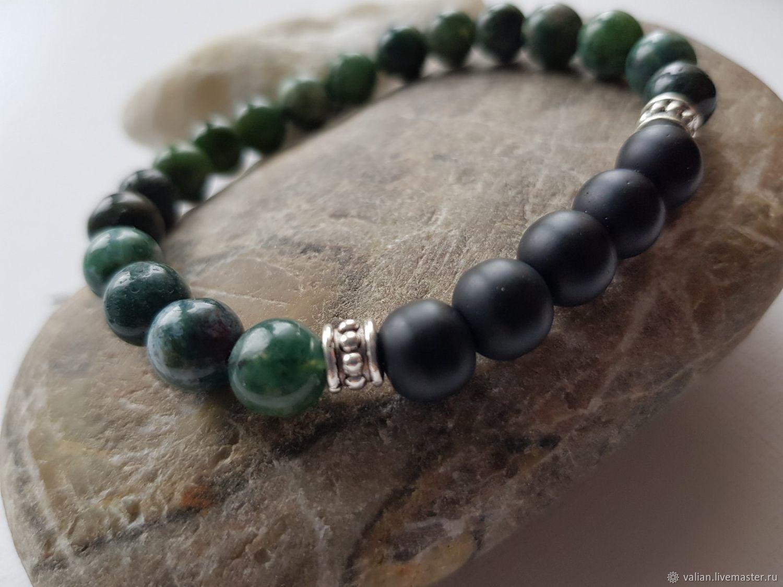 Men's bracelet made of Green Jasper and shungite, Bead bracelet, Moscow,  Фото №1