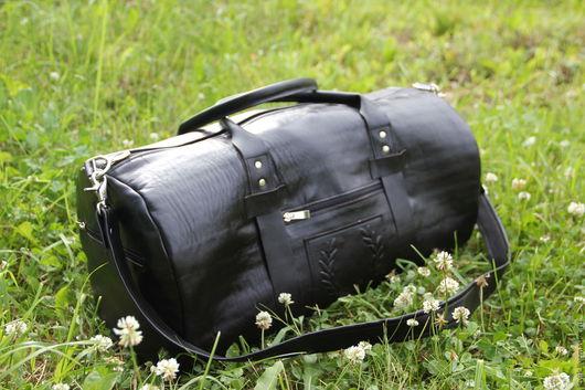 Спортивные сумки ручной работы. Ярмарка Мастеров - ручная работа. Купить дорожная сумка кожаная мужская ЭСТЕТ. Handmade. Черный