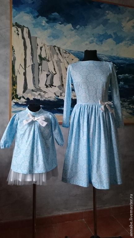 Платья ручной работы. Ярмарка Мастеров - ручная работа. Купить Платье Королева Хлопок 100%. Handmade. Голубой, длинное платье