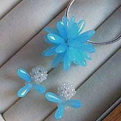 Украшения handmade. Livemaster - original item Pendant and earrings earrings snowflake blue dress. Handmade.