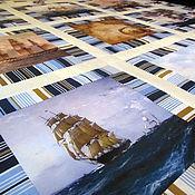 Для дома и интерьера ручной работы. Ярмарка Мастеров - ручная работа Покрывало в морском стиле с фрагментами картин,принты. Handmade.