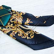 Аксессуары handmade. Livemaster - original item Noble green scarf made of satin with the Gucci colors. Handmade.