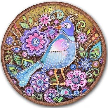 """Картины и панно ручной работы. Ярмарка Мастеров - ручная работа Батик """"Райская птичка"""". Handmade."""