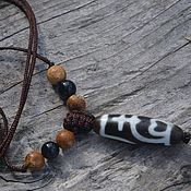Фен-шуй и эзотерика handmade. Livemaster - original item Pendant with a Dzi dzi bead-A talisman for wealth and abundance. Handmade.