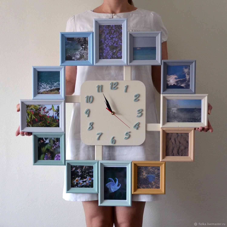 Настенные часы из фоторамок своими руками 879