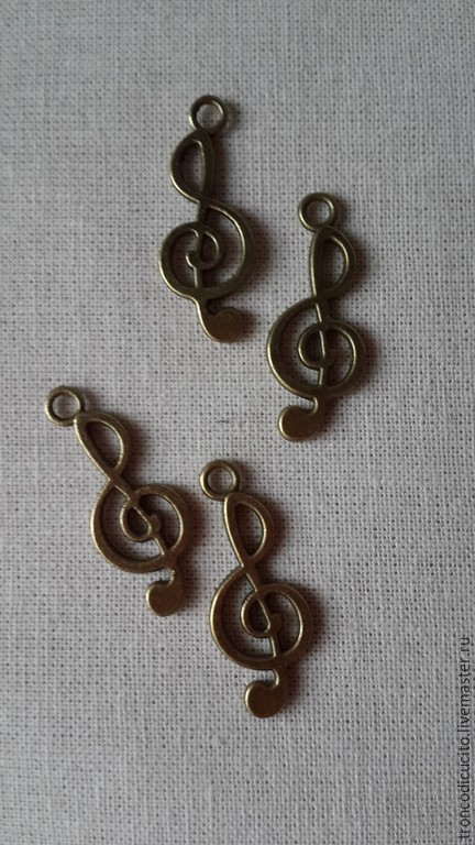 Для украшений ручной работы. Ярмарка Мастеров - ручная работа. Купить Подвеска  скрипичный ключ. Handmade. Золотой, подвеска