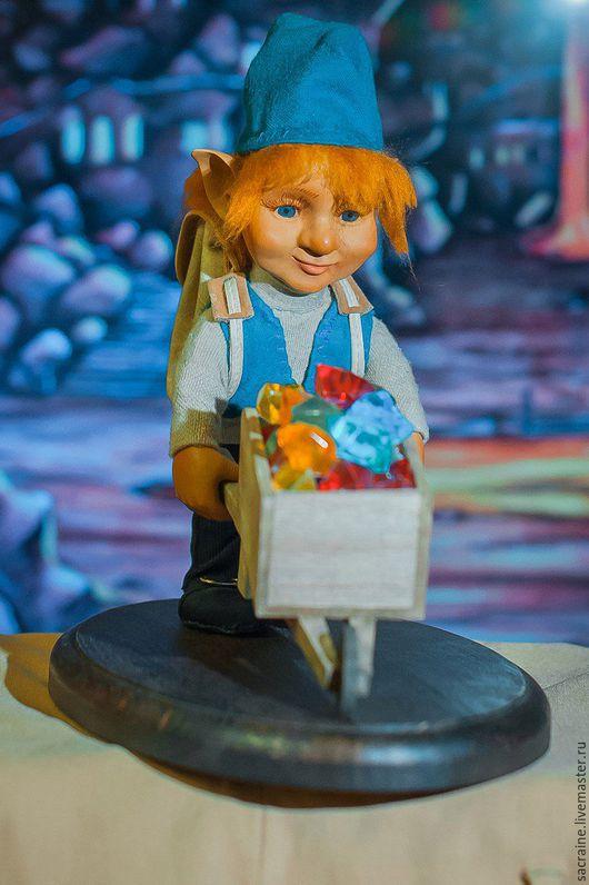 Коллекционные куклы ручной работы. Ярмарка Мастеров - ручная работа. Купить Гном Руди с телегой. Handmade. Морская волна, сокровища