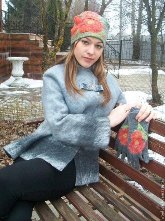 """Верхняя одежда ручной работы. Ярмарка Мастеров - ручная работа. Купить куртка валяная"""" Оттенки серого"""". Handmade. Однотонный"""