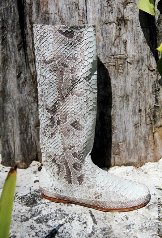 Handmade Shoes handmade. Livemaster - handmade. Buy Boots genuine Python leather . Economie boots.Gift, grey, handmade shoes