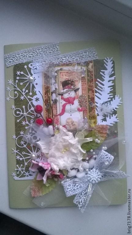 """Открытки к Новому году ручной работы. Ярмарка Мастеров - ручная работа. Купить Открытка """"Новогодняя"""". Handmade. Зеленый, открытка для женщины"""