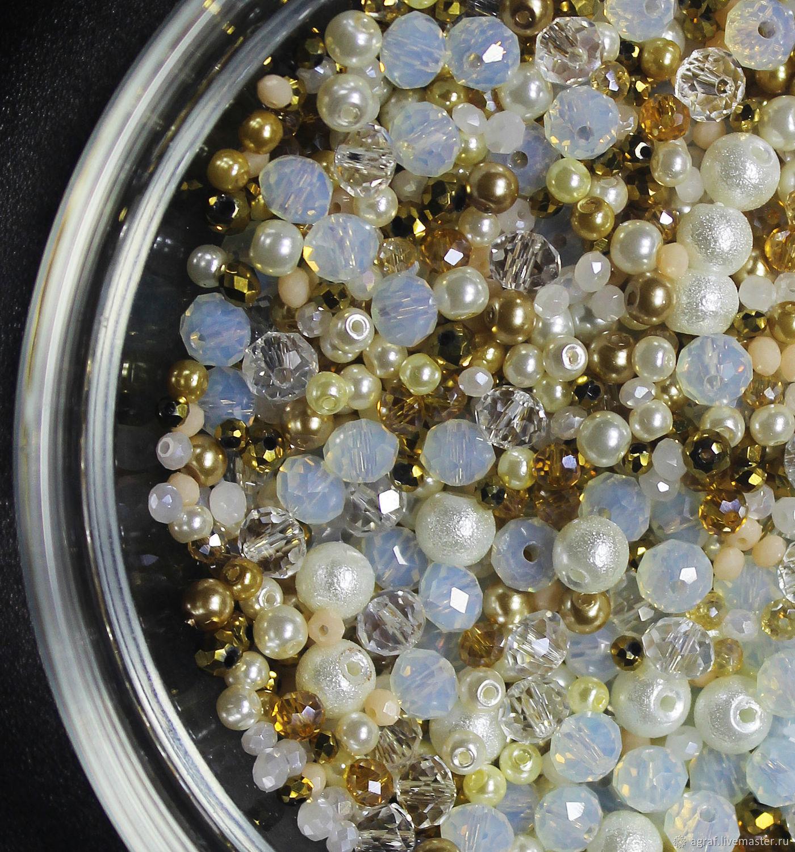 Beads mix 9 White opal 10g, Beads1, Solikamsk,  Фото №1
