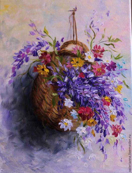 Картины цветов ручной работы. Ярмарка Мастеров - ручная работа. Купить Полевые цветы в корзине. Handmade. Картина в подарок