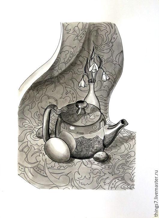 Натюрморт ручной работы. Ярмарка Мастеров - ручная работа. Купить Про весну. Handmade. Чёрно-белый, подснежники, блеск, яйца