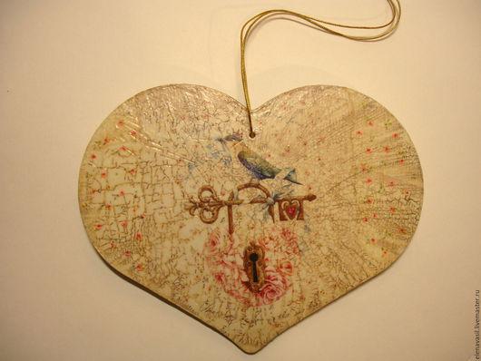 Подвески ручной работы. Ярмарка Мастеров - ручная работа. Купить Интерьерное сердце Зоркий страж. Handmade. Бежевый, ретро стиль