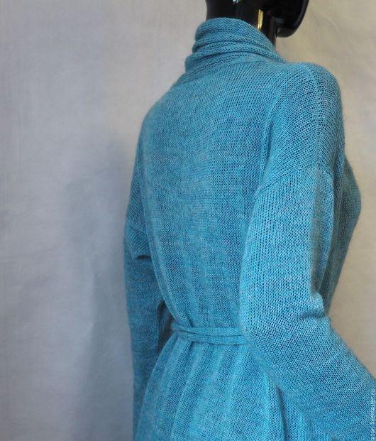 Кофты и свитера ручной работы. Ярмарка Мастеров - ручная работа. Купить Кардиган вязаный из кид-мохера с мериносом бирюзовый меланж. Handmade.