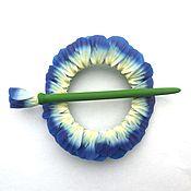 Украшения handmade. Livemaster - original item Barrette Violet 2 (flowers, brooch, hair pin shawl). Handmade.