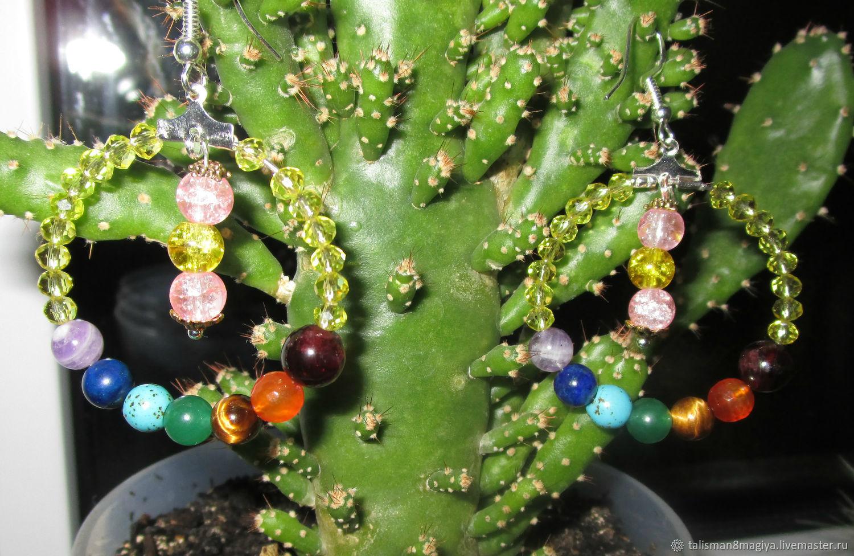 Earrings Chakra rainbow Harmonization amethyst garnet lapis lazuli, Amulet, Naro-Fominsk,  Фото №1