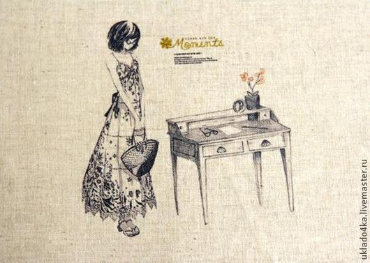 """Шитье ручной работы. Ярмарка Мастеров - ручная работа. Купить Купон-лен """"Девушка"""". 20х20см.. Handmade. Лен, ткань для творчества"""