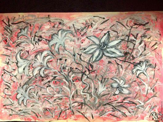 Картины цветов ручной работы. Ярмарка Мастеров - ручная работа. Купить Белые Лилии на розовом.. Handmade. Бледно-розовый