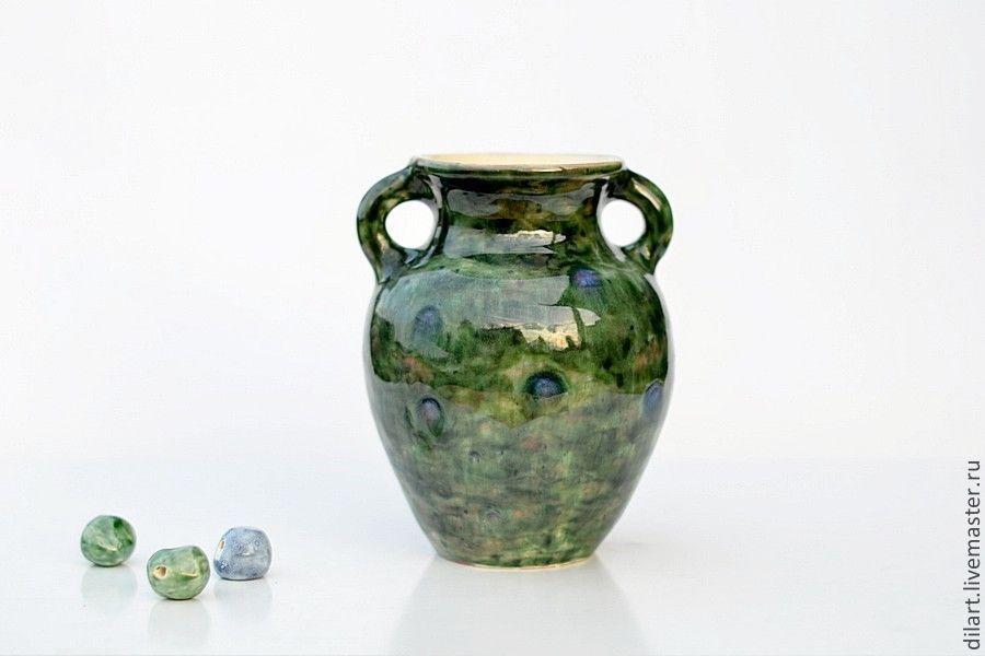 Керамическая  ваза для цветов Изумрудный Павлин, Вазы, Москва,  Фото №1