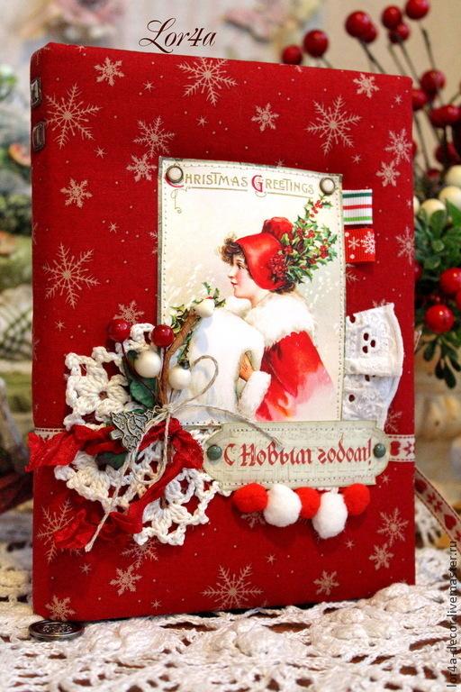 """Блокноты ручной работы. Ярмарка Мастеров - ручная работа. Купить Блокнот """"Новогодний"""". Handmade. Ярко-красный, подарок женщине"""