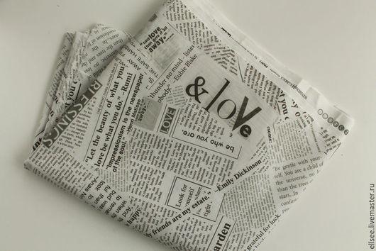 """Шитье ручной работы. Ярмарка Мастеров - ручная работа. Купить Ткань   """"Газета. Коллаж"""". Handmade. Ткани, винтаж, газета"""