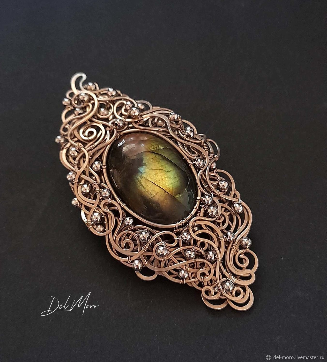 Brooch decoration with green labradorite ' Arctic sun', Brooches, St. Petersburg,  Фото №1