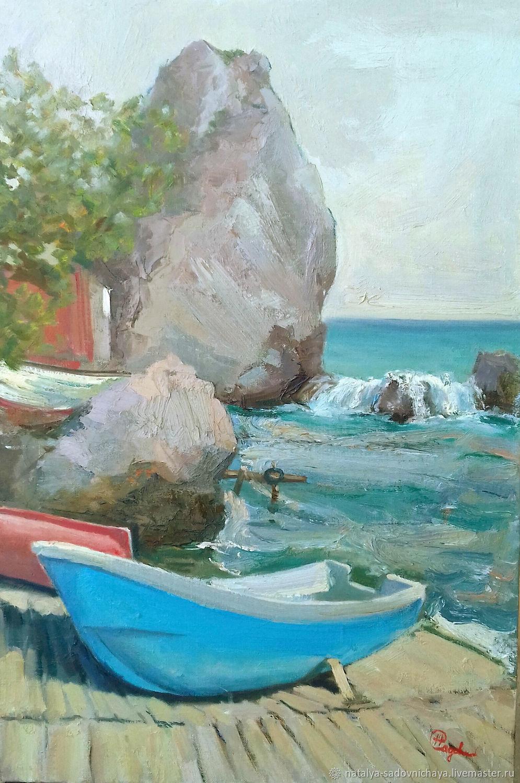 Картина: Голубая лодка, холст, масло 40х50, Картины, Новосибирск,  Фото №1
