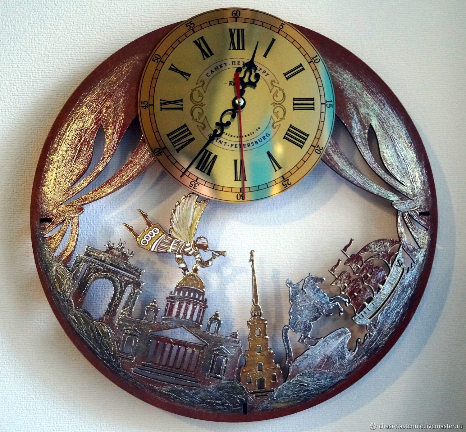 Gift clock wall SPB, unusual wall clock for a gift, Watch, St. Petersburg,  Фото №1
