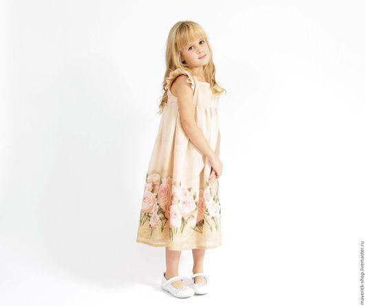 Одежда для девочек, ручной работы. Ярмарка Мастеров - ручная работа. Купить Бежевое платье для девочки из муслина с розами в стиле шебби шик. Handmade.