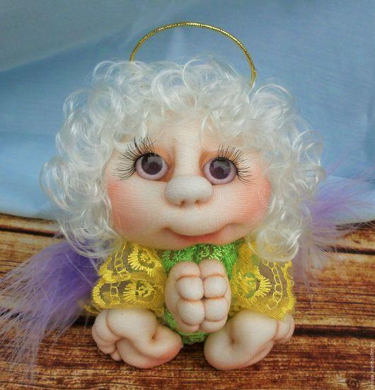 Человечки ручной работы. Ярмарка Мастеров - ручная работа. Купить Ангелок. Handmade. Ярко-зелёный, интерьерная кукла, оберег для семьи
