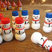 Куклы и игрушки ручной работы. Ярмарка Мастеров - ручная работа Деревянные Снеговички. Handmade.