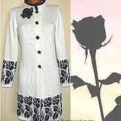 Одежда handmade. Livemaster - original item Coat women winter knitted Black rose. Handmade.