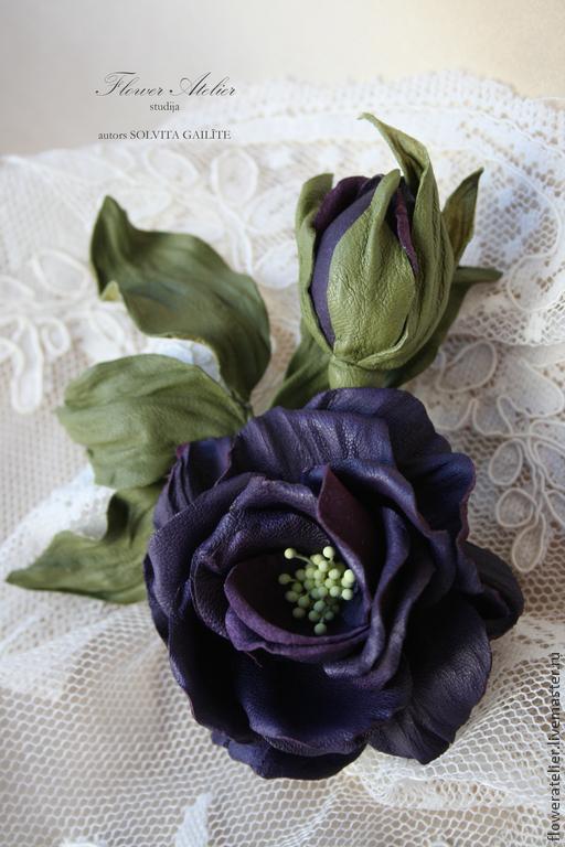 """Броши ручной работы. Ярмарка Мастеров - ручная работа. Купить Роза """"Amethyst"""". Handmade. Тёмно-фиолетовый, кожа натуральная"""