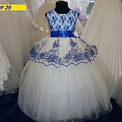 Работы для детей, ручной работы. Ярмарка Мастеров - ручная работа Платье бальное  с синей вышивкой. Handmade.