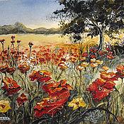 Картины и панно handmade. Livemaster - original item Watercolor painting POPPY FIELD. Handmade.