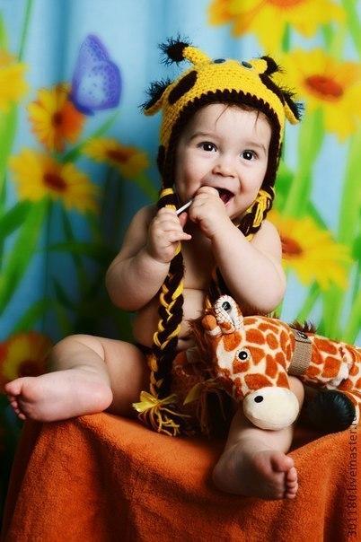 """Шапки и шарфы ручной работы. Ярмарка Мастеров - ручная работа. Купить Шапочка """"Жирафик"""". Handmade. Шапка, детская пряжа"""
