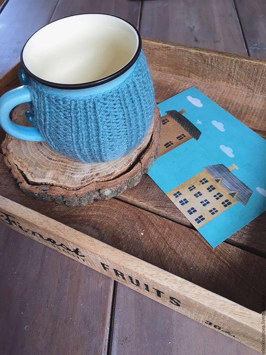 """Кружки и чашки ручной работы. Ярмарка Мастеров - ручная работа. Купить Пара чашек в вязаных свитерках """"Бирюзовый дом"""". Handmade."""