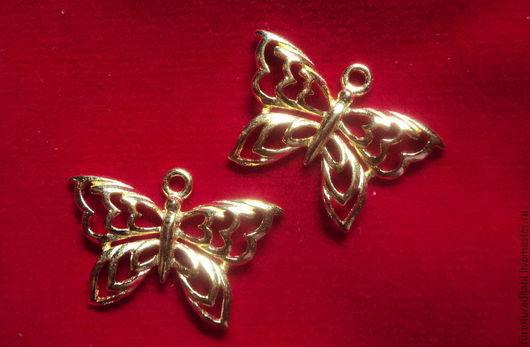 """Для украшений ручной работы. Ярмарка Мастеров - ручная работа. Купить Подвески """"Бабочки"""" 2 вида (серебро в позолоте). Handmade."""