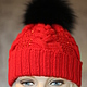 Шапки ручной работы. Ярмарка Мастеров - ручная работа. Купить Женская шапочка из красного мериноса с бисером и помпоном из песца. Handmade.