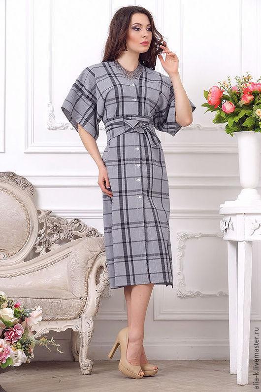 """Платья ручной работы. Ярмарка Мастеров - ручная работа. Купить Платье """"Японка"""". Handmade. Чёрно-белый, платье в клетку"""