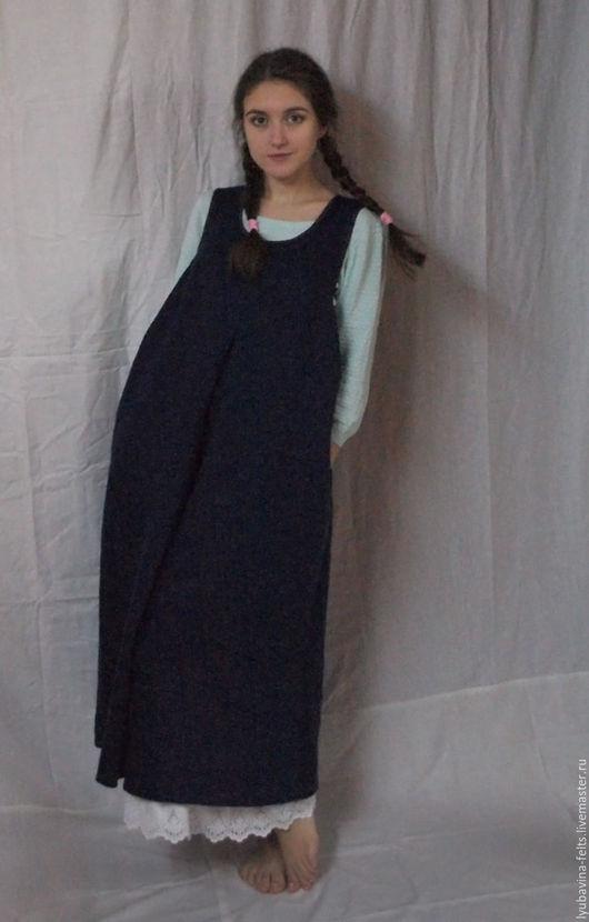 Платья ручной работы. Ярмарка Мастеров - ручная работа. Купить Cарафан из льна Арт.102а темно-синий, размер 50-52. Handmade.