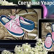 Обувь ручной работы. Ярмарка Мастеров - ручная работа Мокасины-тенниски женские.Цвет джинс+розовый. Подошва ТЭП.. Handmade.