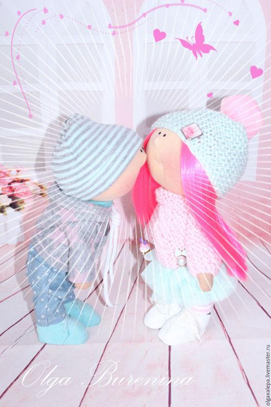 Коллекционные куклы ручной работы. Ярмарка Мастеров - ручная работа. Купить Влюбленные (за парочку). Handmade. Бледно-розовый, подарок