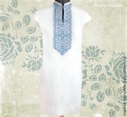 Платье вышиванка АННУШКА Летние платья Платья из льна Платье футляр Дизайнерские платья Бело голубое Платье с воротником Вышиванки Творческое ателье Modne-Narodne. Модная одежда с ручной вышивкой.