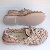 Обувь ручной работы. Ярмарка Мастеров - ручная работа Мокасины  вязаные Lady G, беж, хлопок. Handmade.