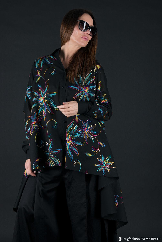 Black cotton blouse, long loose blouse - SH0436CT, Blouses, Sofia,  Фото №1