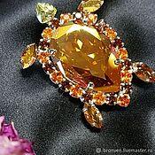 Украшения handmade. Livemaster - original item Golden turtle with Swarovski crystals as a gift to your favorite. Handmade.