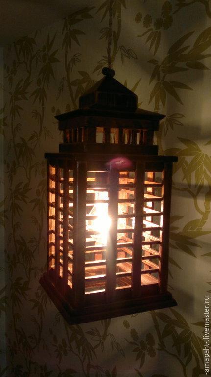 Освещение ручной работы. Ярмарка Мастеров - ручная работа. Купить Старый потолочный фонарь. Handmade. Светильник из дерева, лак
